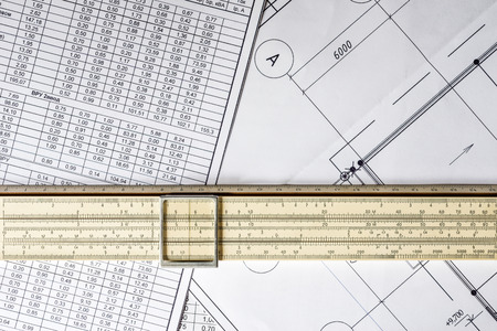 rule: Schemes and slide rule Stock Photo