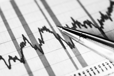 stock market crash: Stock graphic, stock market crash. In black and white tones Stock Photo