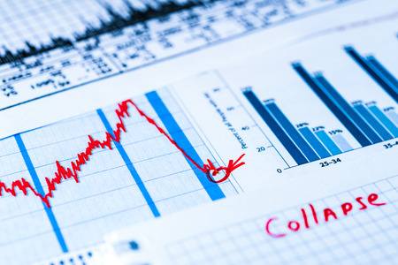 stock market crash: Stock market crash, point of the collapse. In blue tones Stock Photo
