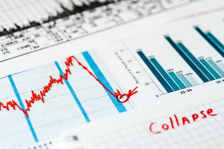 stock market crash: Stock market crash, point of the collapse Stock Photo