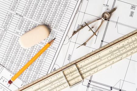 drafting table: Preparation for drafting papers, the tools and schemes on the table Stock Photo