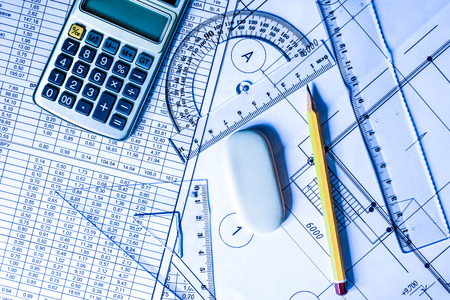 schemes: Workplace architect, creation schemes. In blue tones Stock Photo