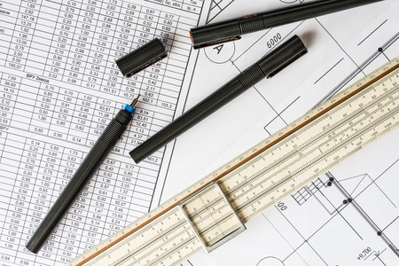 land slide: Workplace of engineer, tools for sketching