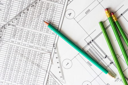 architectural drawings: Architectural drawings, many pencils on the table