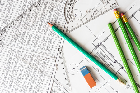 architectural drawings: Architectural drawings, many pencils on the table with eraser and tools for sketching