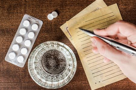 prescribe: Cure the disease, a doctor prescribe the right tablets in the recipe. In retro tones