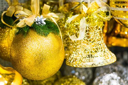 Christmas toys, balls and bells