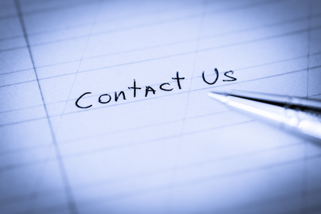 Contact us, sign in the notebook by pen. Image vignetting and blue toning