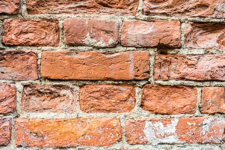 古い赤レンガの壁、クローズ アップ ビューを破棄