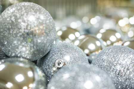brightly colored: Christmas balls close up Stock Photo