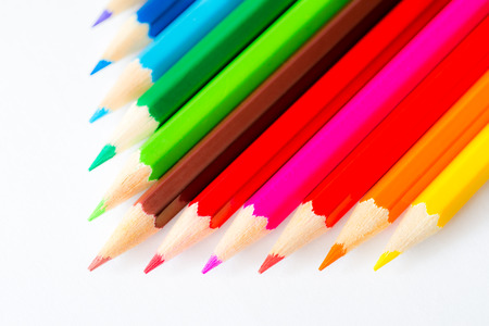 Pyramid of the colored pencils on paper