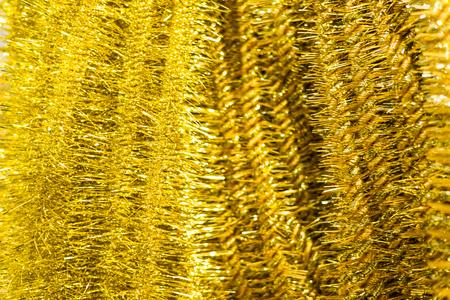 the tinsel: Golden Christmas tinsel