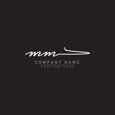 Initial Letter MM Logo - Handwritten Signature Logo Logo