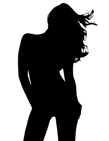 Sexy silhouette of young girl photo