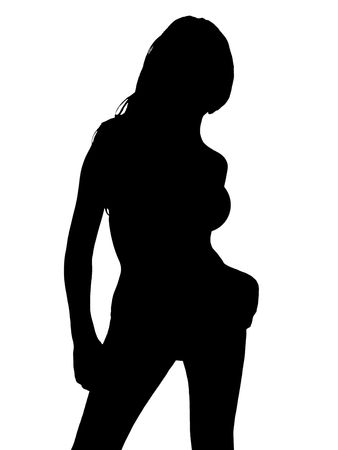 shadow people: Sexy silhouette of young girl