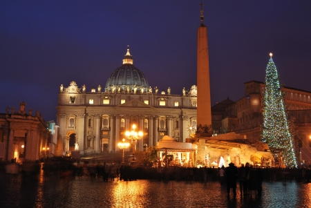 solemnity: Saint Peters Basilica in night, roma, italy