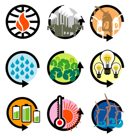unique and modern global warming icons Vector