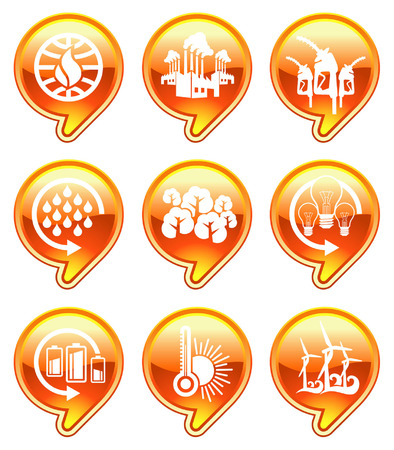 hot global warming icons Vector