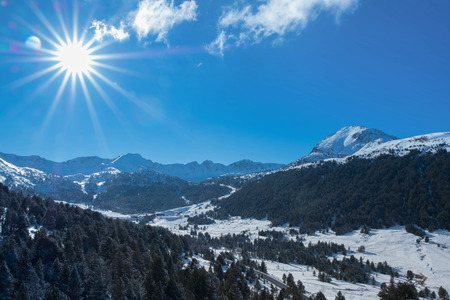 Sky and mountains in winter Stock Photo