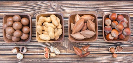 pili: Panorama various sorts of nuts collection