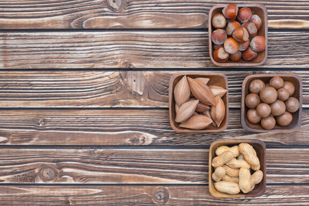 pili: Various sorts of nuts collection Stock Photo