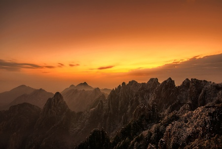 Stunning sunset over Huangshan, the Yellow Mountain in Anhui Province, China. photo