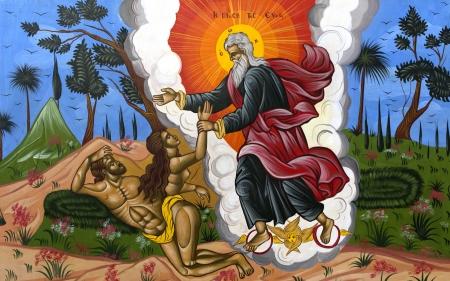 Byzantine wall painting shows God creating Adam and Eva