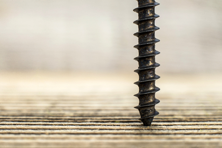 screwed: a black screw screwed into wooden plank Stock Photo