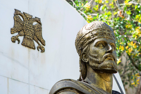 constantine: statue of Constantine XI Palaeologus in Athens Stock Photo