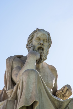 ancient philosophy: statue of ancient Greek philosopher Socrates in Athens Stock Photo