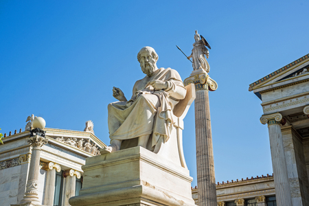 ancient philosophy: statue of ancient Greek philosopher Plato in Athens