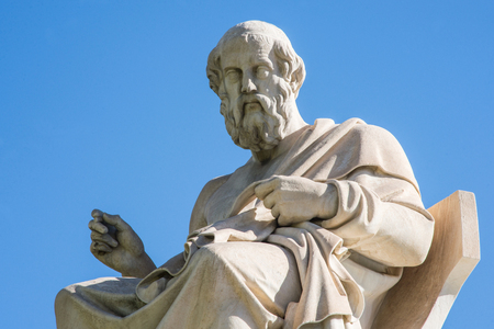 statue of ancient Greek philosopher Plato in Athens