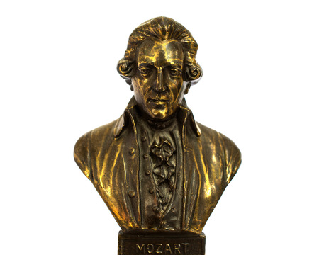 amadeus mozart: close up of Wolfgang Amadeus Mozart statue portrait