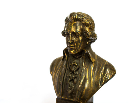 beethoven: close up of Wolfgang Amadeus Mozart statue portrait