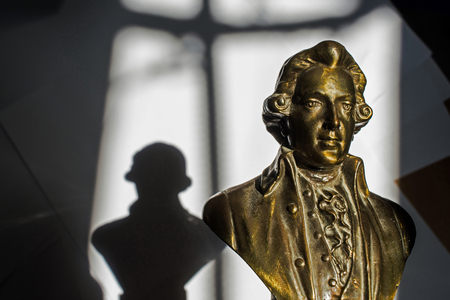 amadeus: close up of Wolfgang Amadeus Mozart statue portrait