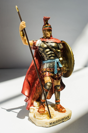statue of ancient Makedonian soldier,isolated