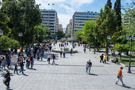 syntagma: ATHENS, GREECE - APRIL 27, 2016:view of Syntagma square in Athens with crowd