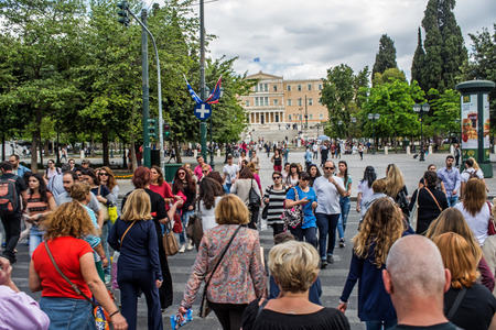 syntagma: ATHENS, GREECE - APRIL 25, 2016:view of Syntagma square in Athens with crowd