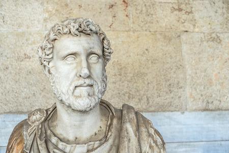pius: statue of Roman emperor Antoninus Pius inside the Stoa of Attalos in Athens