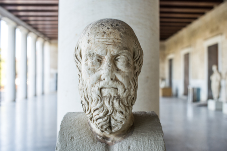 statue probably of Herodotus in stoa of Attalos, Athens, Greece