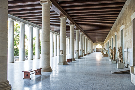 Stoa of Attalos in ancient Agora, Athens, Greece Editorial