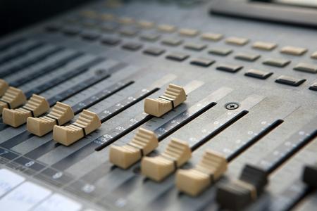 Sound mixer controller. Closeup view. Stock Photo