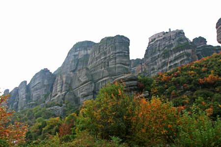 Landscape of the mountains and monasteries of Meteora, Greece Stock Photo