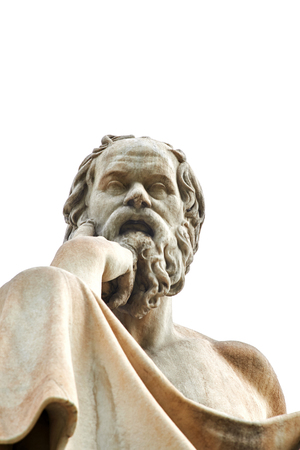 Statue of ancient Greek philosopher Socrates in Athens. Stok Fotoğraf