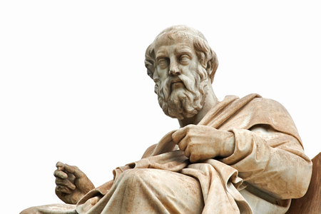 historic architecture: Statue of ancient Greek philosopher Plato in Athens.
