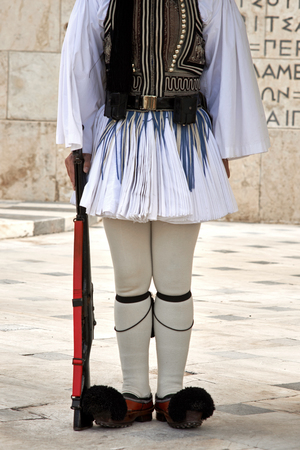 tomb of the unknown soldier: Evzonas Guardian in front of the Greek parliament building, Athens, Greece. Stock Photo