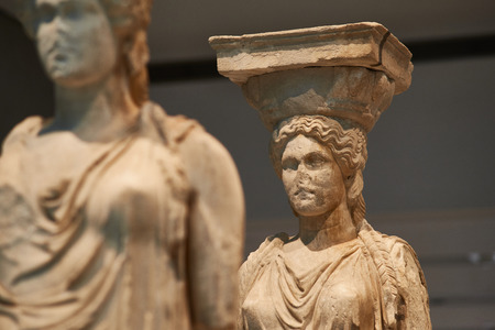 ATHENS, GREECE - DECEMBER 30, 2016: Statue of Caryatides in Acropolis museum.