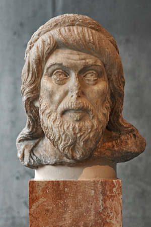 biographer: Portrait statue maybe of philoshopher Plutarch in Athens.