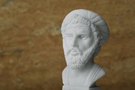 theorist: Statue of Pythagoras,ancient greek mathematician and geometer.