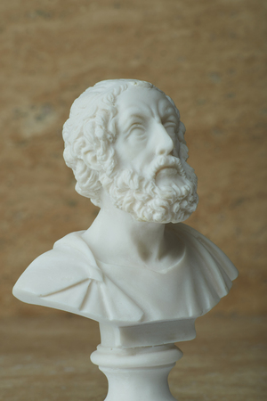 poems: Statue of Homer,ancient greek poet. Stock Photo
